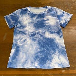 Tie Dye Quick Dry Shirt Blue White Sun Swim Sz Med